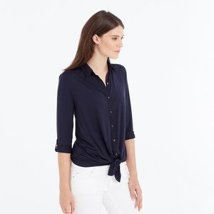 Ann Taylor Mixed Media Tie Front Shirt